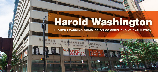 Picture of Harold Washington College building with words: Harold Washington, Higher learning commission comprehensive evaluation